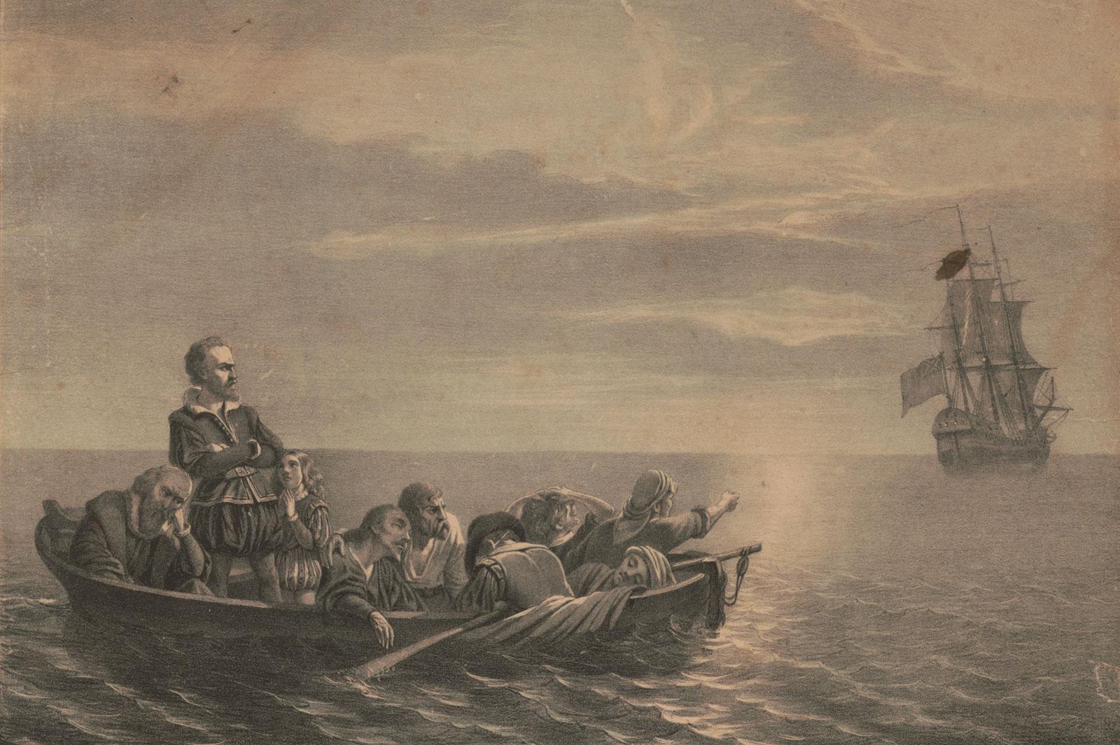 L'abbandono di Hudson (lithograph by Lewis & Browne, Library of Congress, Washington, D.C.)
