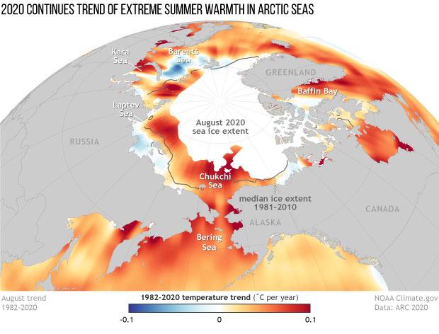 NOAA Artico riscaldamento
